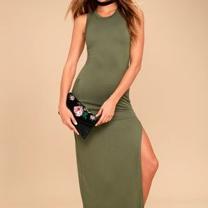 Olive Green Sleeveless Maxi Dress